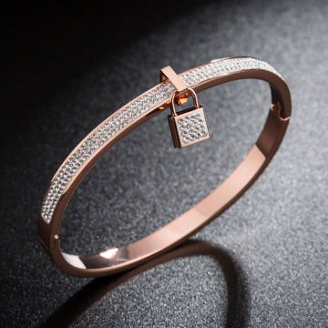 Delicate Rose Gold Lock Charm Crystal Bangle Bracelet