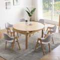 Extendable Light Rubber Solid Wood Round Table for 6