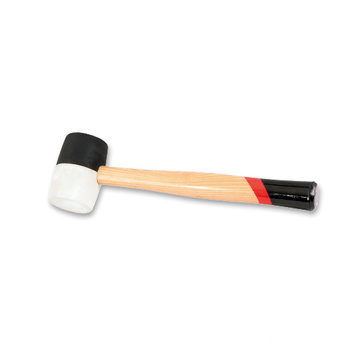 Black and white rubber hammer with wooden handle  24oz