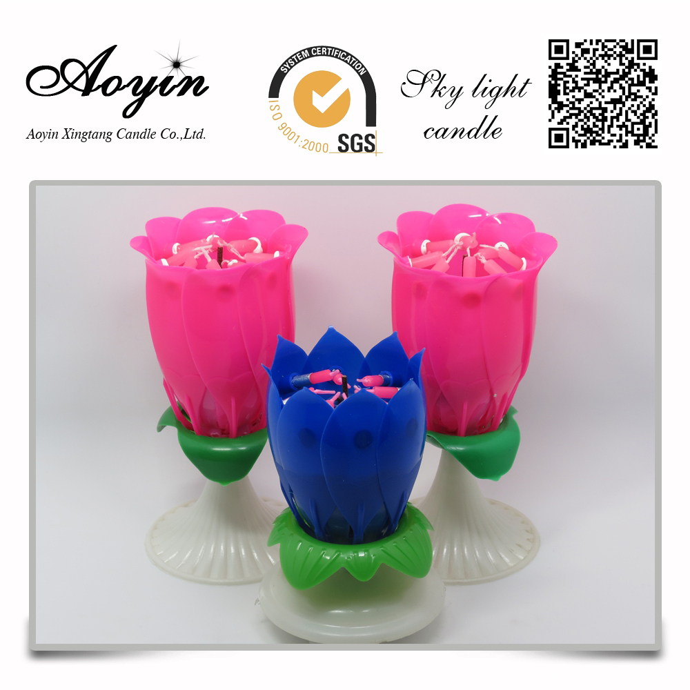 Flameless Musical Rotating Lotus Birthday Candle
