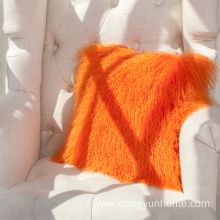 Orange Lamb Fur Pillow Double Sided Fur
