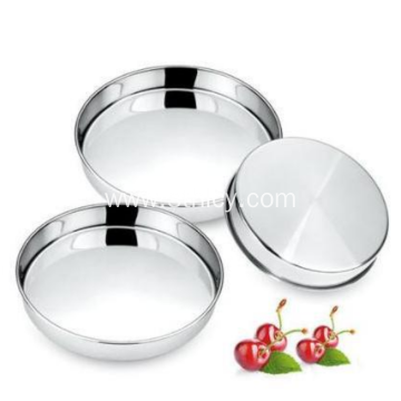 Stainless Steel Flat Cake Tray Set Three Pieces