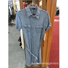 New Shirt-Style Slim Short-Sleeve Denim Ladies Dress