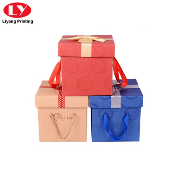 Christmas paper gift box with hanging rope