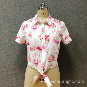 Women's cotton bird printed short shirt
