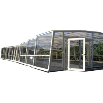 Polycarbonate Roof Retractable Mesh Swimming Pool Enclosure