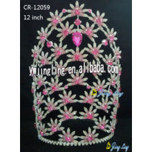 Leading for Pageant Crowns and Tiaras Flower rhinestone crown for sale CR-12059 supply to North Korea Factory