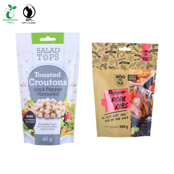 Flat Bottom Kraft Paper Bags with Window Laminated Pouch/Printed PLA Pouch Printed Compostab