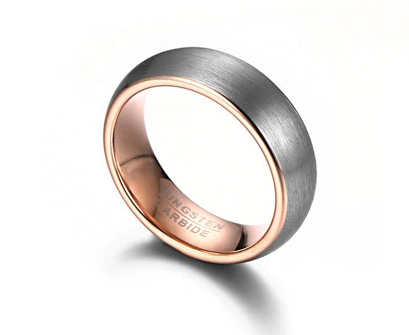 tungsten and rose gold ring