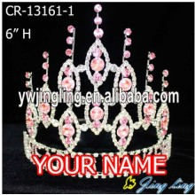 "6"" Pink Rhinestone Cheap Wholesale Pageant Crowns"