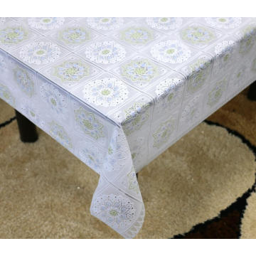 Printed pvc lace tablecloth crystal clear