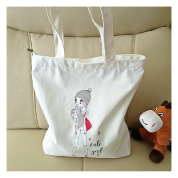 White zipper large canvas bag