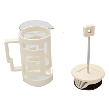 White Plastic Frame Glass French Press