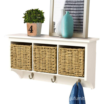 White Entryway Hanging Cubby Shelf Coat Rack Storage Shelf with Seagrass Baskets