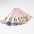 Colorful nylon izinwele plastic plastic makeup brushes