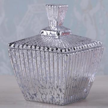 Square Glass Candy Jar Of Mercury Effect/Clear