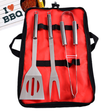 3pcs stainless steel bbq grill tools set with bag