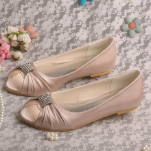 Wedopus Open Toe Nude Bridal Shoes Sale