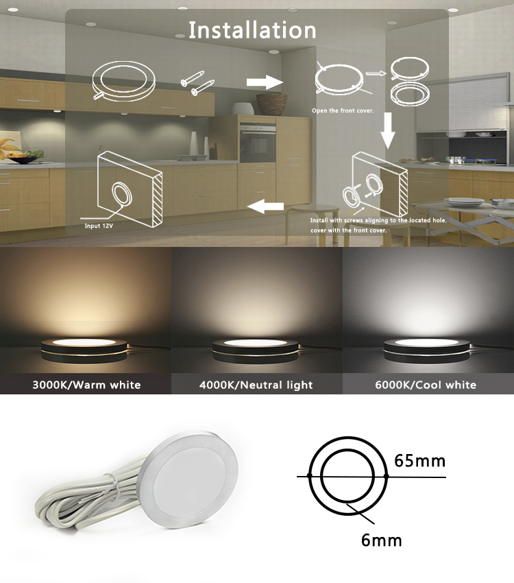 Round Mini Cabinet Panel Light