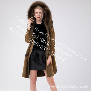 Lady Medium Hooded Fur Overcoat in Winter