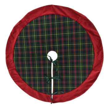 Green plaid and red velvet tree skirt
