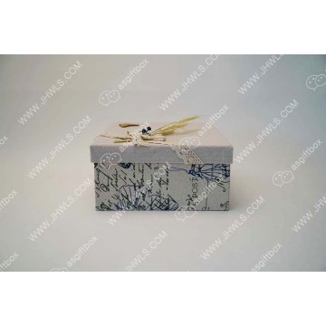 Printed linen handmade cosmetic box