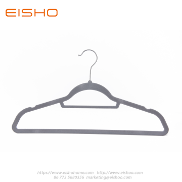 Grey Anti-slip Velvet Coat Hanger With Bar