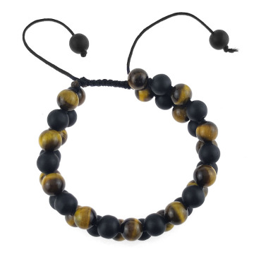 Mens adjustable brown tiger eye bead bracelets