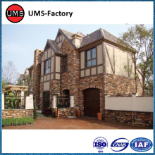 Stacked rough stone effect exterior tiles