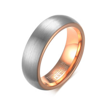 Silver and rose gold women's tungsten carbide rings