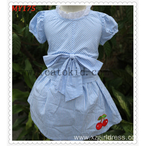 Frock Baby Design Children Summer Dress Cotton Skirts with Bow