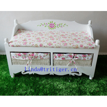 Painted solid wood sofa shoe storage cushion footstool straw woven wicker basket drawers