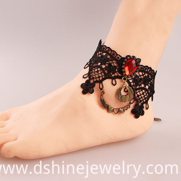 India Vintage Black Lace Anklet For Women