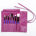 Purple PU bag with 7 make up brushes