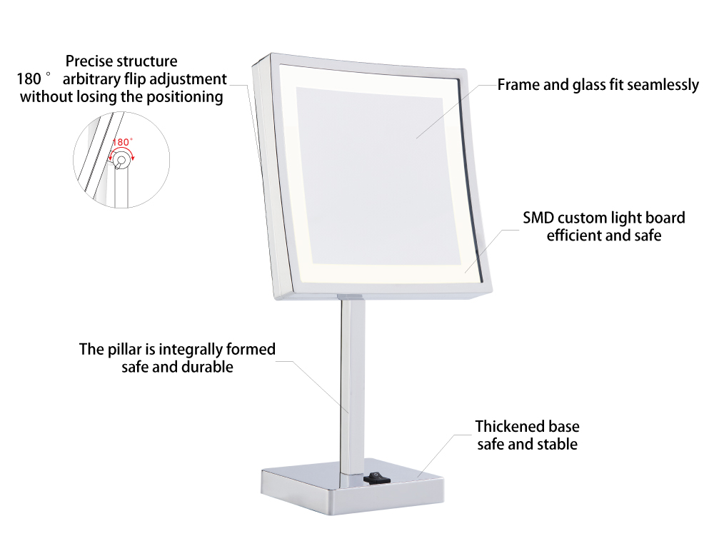desk mirror with light