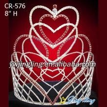8 Inch Rhinestone Heart Holiday Crowns