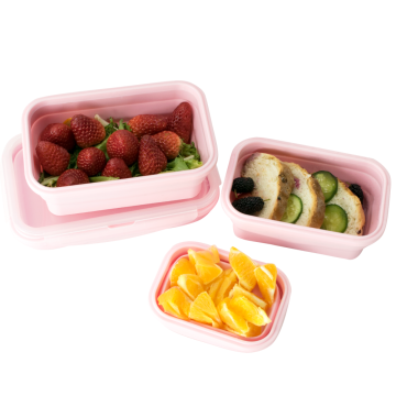 Pink Silicone Food Storage Lunch Boxes for Home