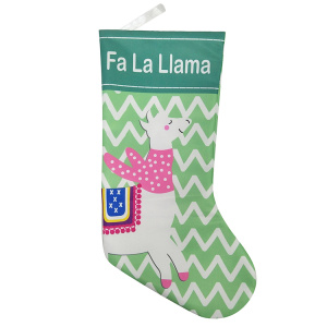 Christmas stocking with cute llama theme
