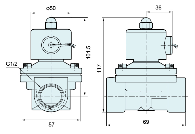 G1/2'' Stainless Steel 304 Semi-direct NBR Diaphragm Valve