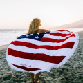 100% cotton printed round beach towel with tassel