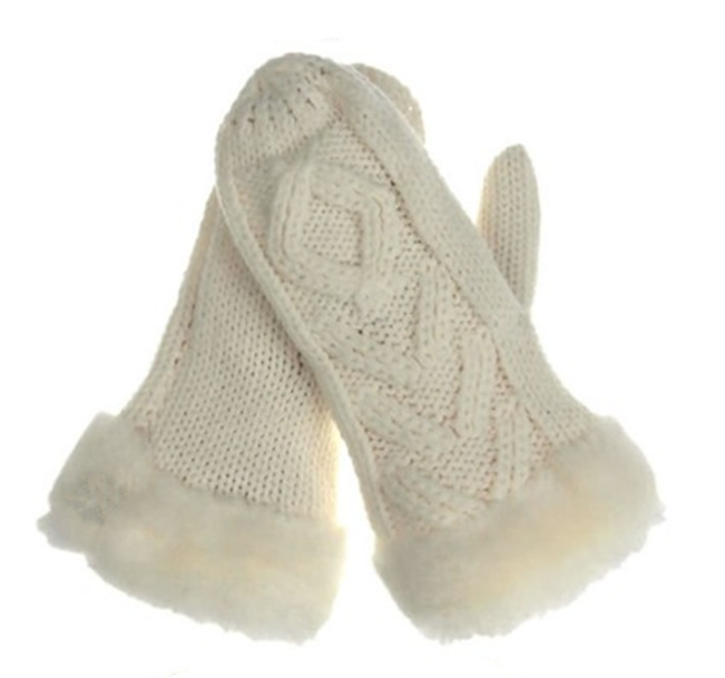 Thickening Acryic Knitting Gloves Beige