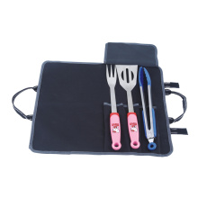 3pcs cute bbq tool set with nylon bag