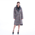 Fashion coloured checked cashmere overcoat