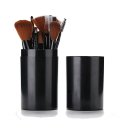 12 pieces black makeup brush with plastic barrel