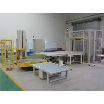 Automatic conveyor pallet wrapping machine