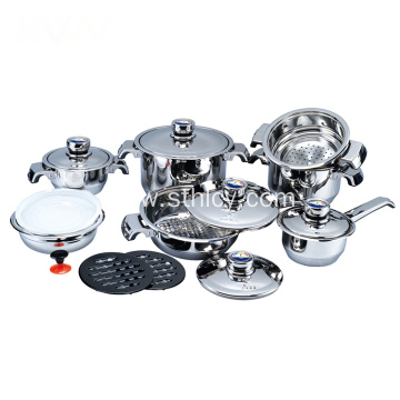 16pcs Stainless Steel Straight Type Cooking Pot