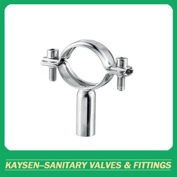 Sanitary round pipe holder with solid bar