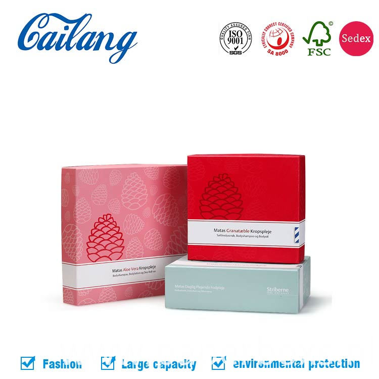 two pieces paper cosmetics paper boxes with uv spot logo