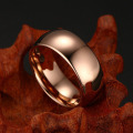 Dome rose gold plated tungsten carbide ring