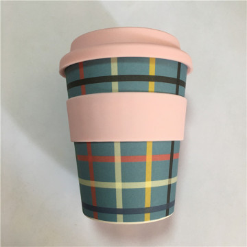 Takeaway Bamboo Drinking Cups with Silicone Lid/Sleeves